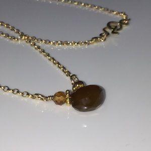 14k Toffee Chalcedony & Orange Garnet Necklace